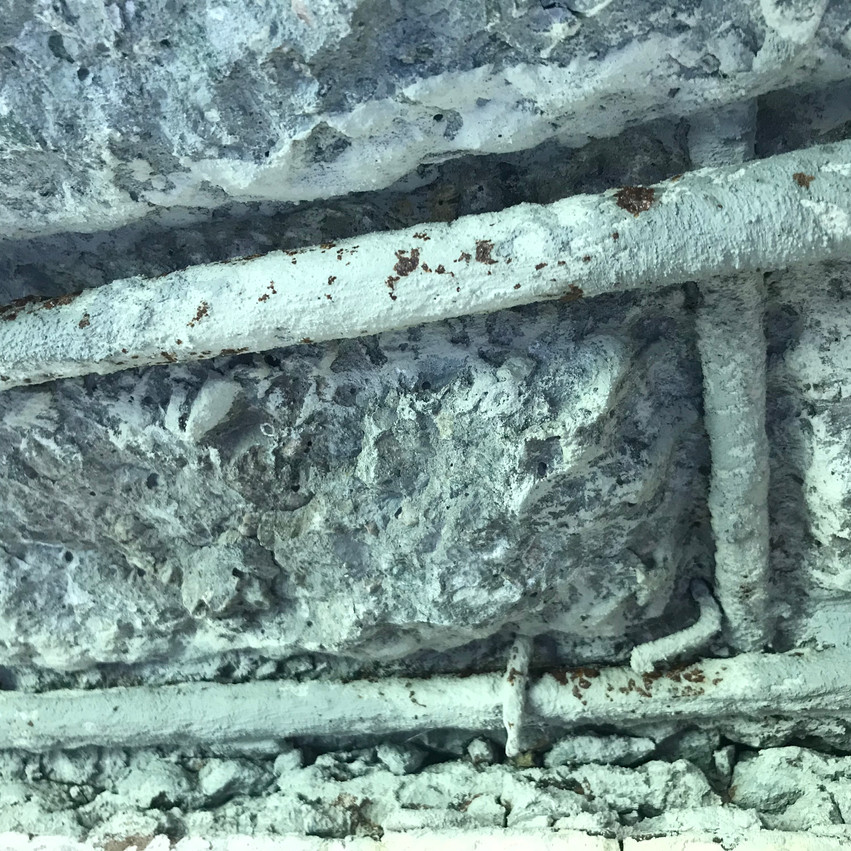 Concrete cancer at the soffit of a common access balcony at a residential strata complex in Cottesloe (Perth)