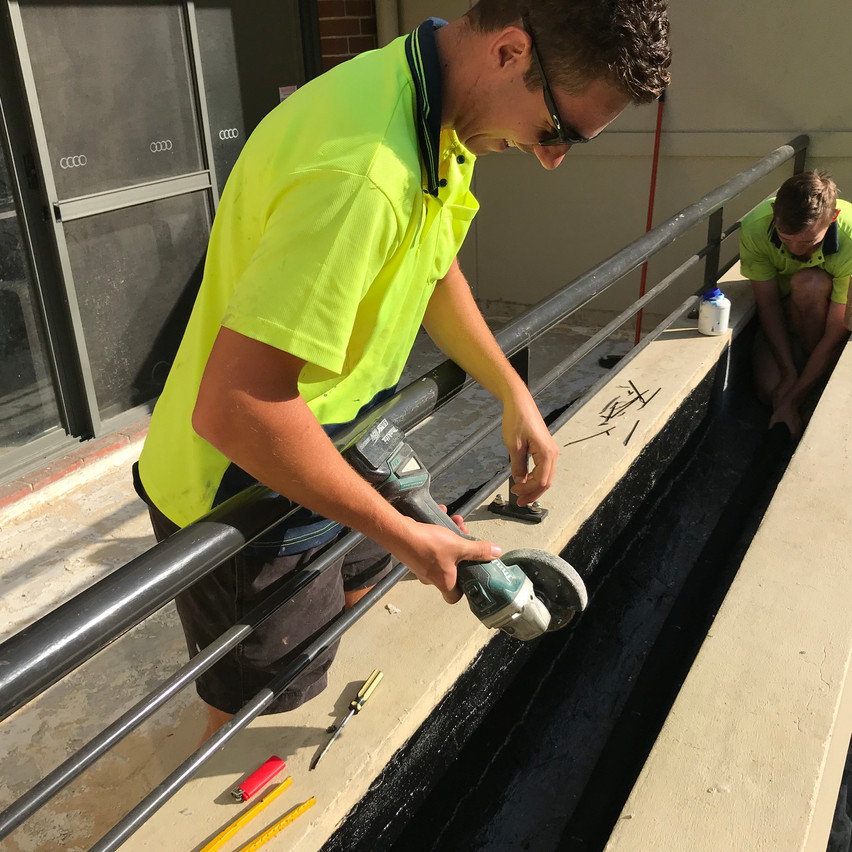 Conspar waterproofing and drainage installation of planter boxes at an apartment strata complex in Highgate, Perth.