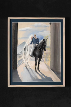 Le retour des mariés à cheval (gouache) 馬で帰って来る花婿と花嫁(グワッシュ)