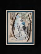 Les mariés à cheval (gouache) 馬上の花嫁と花婿(グワッシュ)