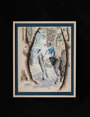 Les mariés à cheval (gouache) 馬上の花嫁と花婿(グ