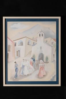 Les mariés sortant de l'église (gouache)教会を出る花嫁と花婿(グワッシュ)