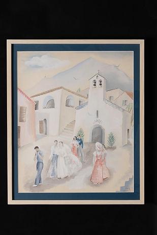 Les mariés sortant de l'église (gouache)