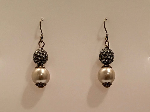 Glass Pearl and Pave Bead Earring