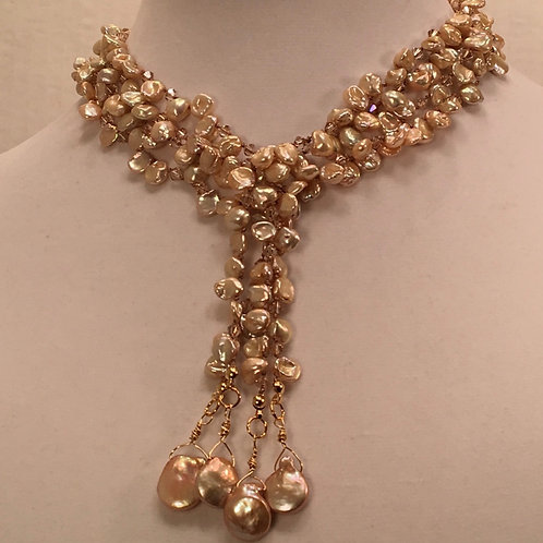 Double Keshi Pearl Necklace