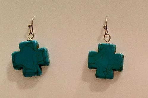 Turquoise cross earring