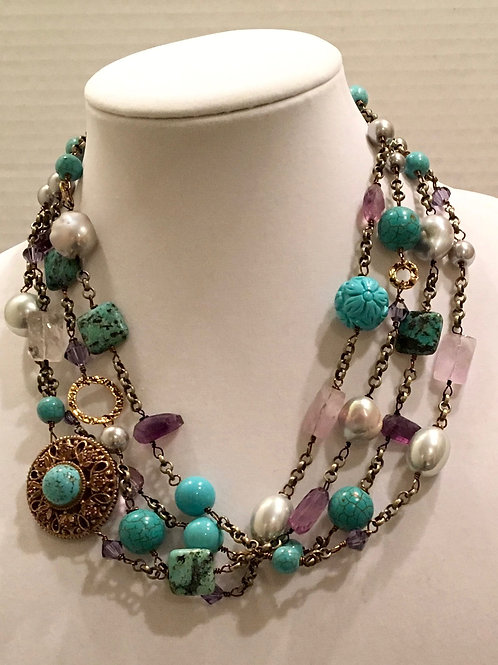 Allison Necklace in turquoise and amethyst
