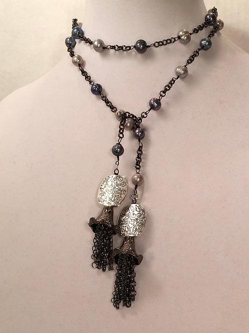 Black & Gray Pearl Lariat