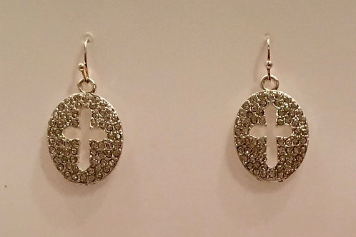 Pave Cross earring in silver