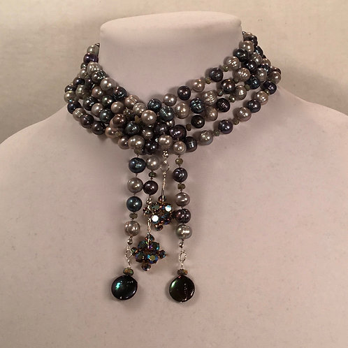 Black and Gray Pearl Lariat