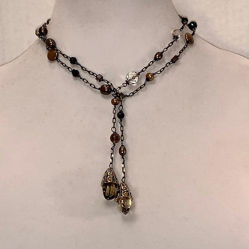 Chain Lariat  (Golden hues)