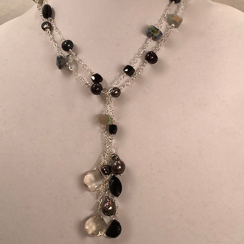 Blacks and Moonstone Lariat