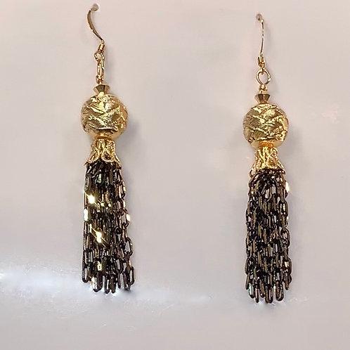 Gold and Black Tassel Earrings