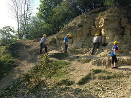 A field party taking a look at the White Limestone Formation at Kirtlington Quarry