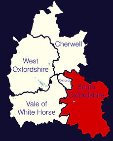 Map of Oxfordshire indicating the Vale of White Horse