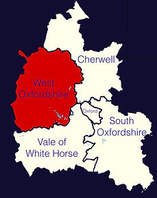 Map of Oxfordshire indicating West Oxfordshire