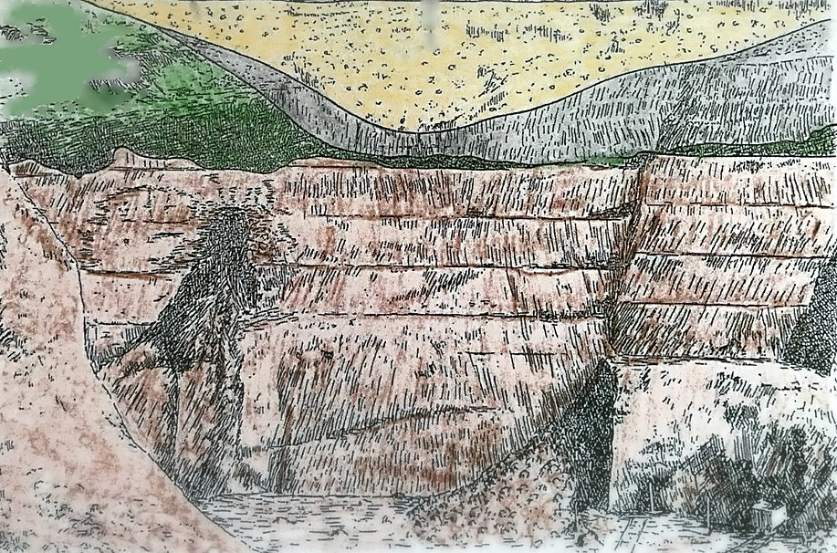 Section of strata at Chawley Brick Pit, Cumnor by H. Philip Powell
