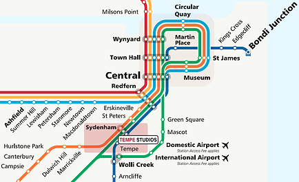 Location of Tempe Studios on Sydney train network map