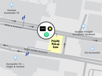 Map of rideshare pickup location at Sydney Domestic Airport