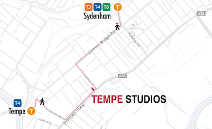 Map of train stations near Tempe Studios