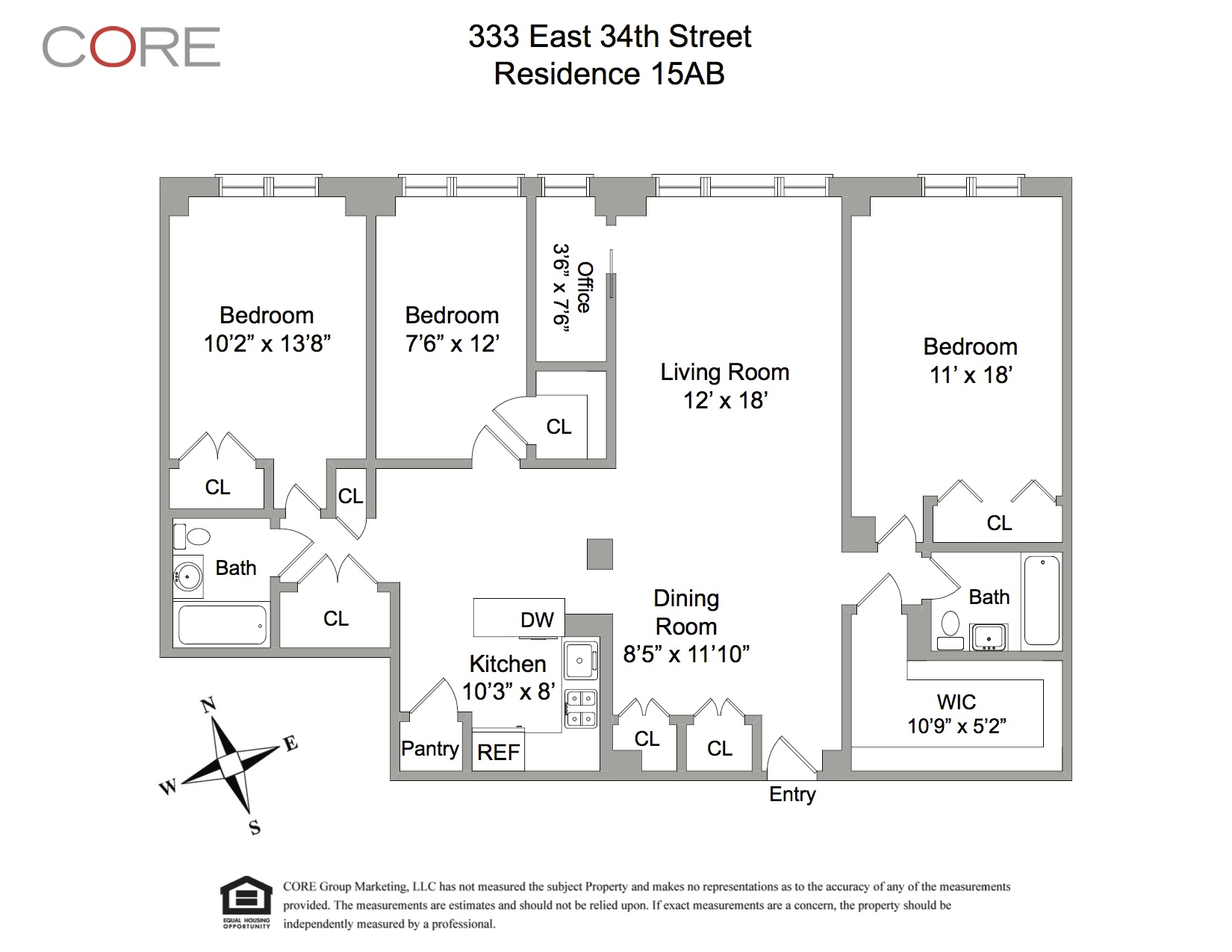 floor plan-333 East 34th Street, Unit 15AB