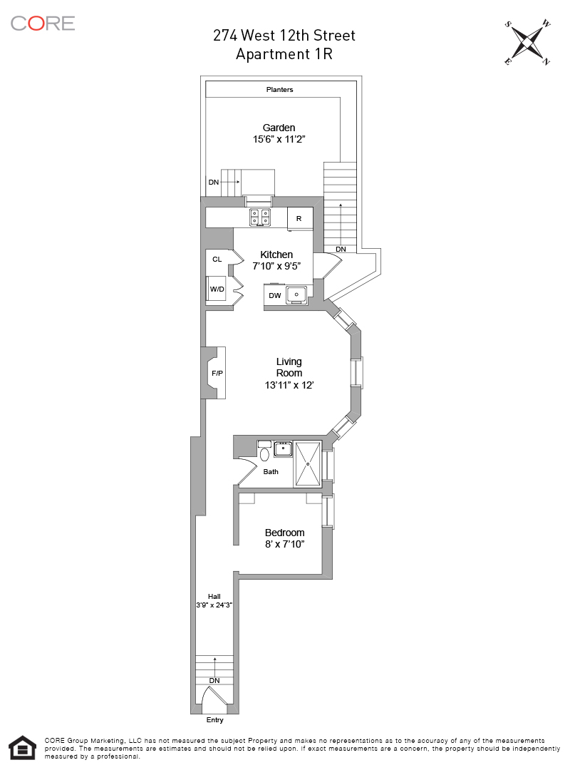 274 West 12th Street, 1R Floorplan