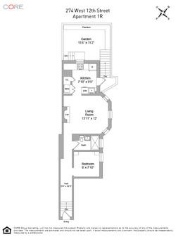 274 West 12th Street, 1R Floorplan