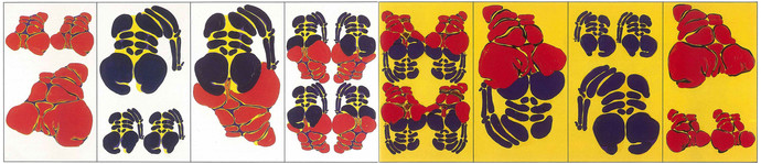 Okuyanlar İçin Beyaz Dizi, 1989 Tuval üzerine akrilik Poliptik Her biri 130 x 75 cm