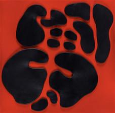İsimsiz, 2011 Şasiye gerilmiş kumaş ve boyanmış parşömen 100 x 100 cm