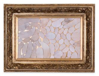 Âlem İçindedir 3, 2020 Şasiye gerilmiş parşömen Altın varaklı çerçeve 95 x 125 cm