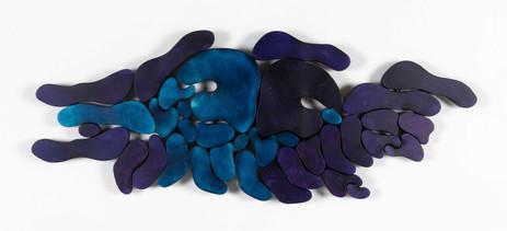 """""""III. İstif"""" Serisinden 35, 2018 Şasiye gerilmiş boyanmış parşömen 45 x 118 cm"""