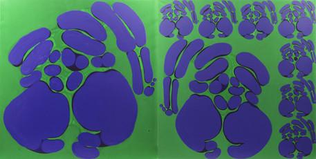 İsimsiz, 1990 Tuval üzerine akrilik Diptik Her biri 176 x 176 cm