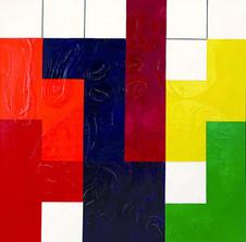 Tetris Serisinden, 1996 Tuval üzerine model hamuru ve akrilik 150 x 150 cm
