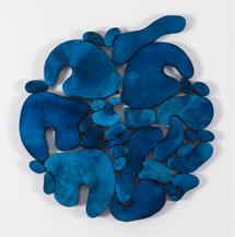 """""""III. İstif"""" Serisinden 14, 2017 Şasiye gerilmiş boyanmış parşömen Ø 67,5 cm"""