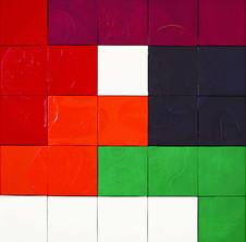 Tetris Serisinden, 1996 Tuval üzerine model hamuru ve akrilik 103 x 103 cm