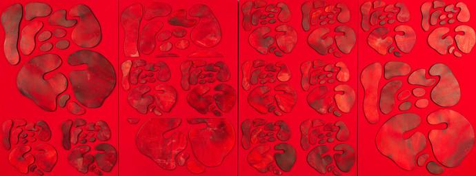 İsimsiz, 2011 Şasiye gerilmiş kumaş ve parşömen  Tetraptik Her biri 150 x 100 cm
