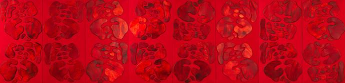 İsimsiz, 2011 Şasiye gerilmiş kumaş ve parşömen  Poliptik Her biri 200 x 100 cm