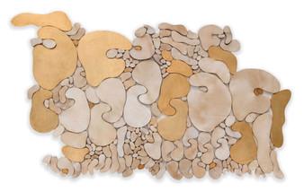 """""""Âlem"""" Serisinden 4, 2020 Şasiye gerilmiş parşömen ve altın varak 127 x 223 cm"""