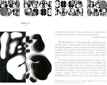 """Beden 4. Seri I, 1999 """"Zeynep Sayın / Mithat Şen ve Beden Yazısı I"""" için bilgisayarla tasarlanmış 13 parçadan oluşan bütün, kitap sayısı kadar kitap üzerinde çoğaltılmıştır."""