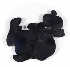 """""""III. İstif"""" Serisinden 32, 2018 Pleksi üzerine şasiye gerilmiş boyanmış parşömen Ø 50 cm"""