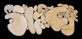 """""""III. İstif"""" Serisinden 18, 2018 Şasiye gerilmiş parşömen 75 x 165 cm"""