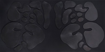 İsimsiz, 2010 Şasiye gerilmiş kumaş ve boyanmış parşömen 100 x 200 cm