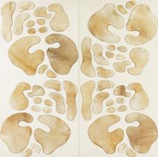 İsimsiz, 2011 Şasiye gerilmiş kumaş ve parşömen Diptik Her biri 200 x 100 cm