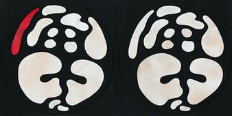 İsimsiz, 2008 Şasiye gerilmiş kumaş ve parşömen 100 x 200 cm