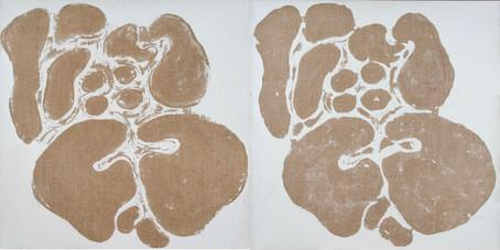 İsimsiz, 2004  Ham keten üzerine akrilik Diptik Her biri 81 x 81 cm