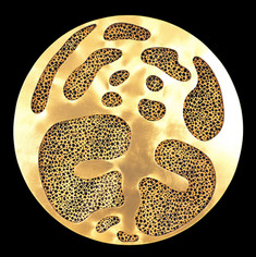 İsimsiz, 2007 Şasiye gerilmiş altın varak ve kumaş Ø 123 cm
