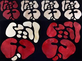 İsimsiz, 2009 Şasiye gerilmiş kumaş ve boyanmış parşömen 150 x 200 cm