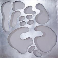 İsimsiz, 2005 Şasiye gerilmiş tuval bezi üzerine gümüş varak 123 x123 cm