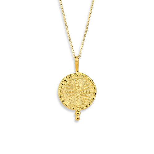 Serenity Artwork Dünya Medeniyetleri koleksiyonumuza ait Maya sembolü kolye altın kaplamadır.