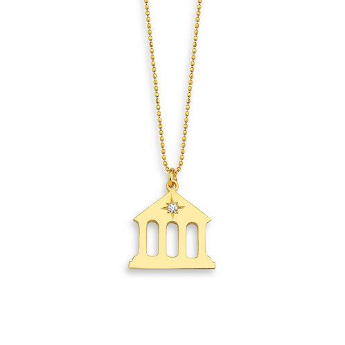 Zirkon Taşlı Tapınak Figürlü Kolye